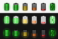 Uppsättning av batterisymboler stock illustrationer