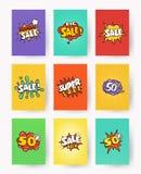 Uppsättning av befordrings- etiketter med bokstäverförsäljningen, rabatt popkonst, komisk stilvektorillustration Samling vektor illustrationer