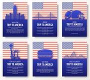Uppsättning av begreppet för illustration för USA landsprydnad Traditionell konst, affisch, bok, affisch, abstrakt begrepp, ottom Arkivbild