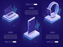 Uppsättning av 3 begreppsmässiga överskrifter Smarta digitala apparater liksom telefonen, bärbar dator, klockor isometrisk stil 3 royaltyfri illustrationer