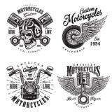 Uppsättning av beställnings- motorcykelemblem Arkivbild
