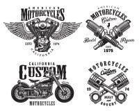 Uppsättning av beställnings- motorcykelemblem Arkivfoton