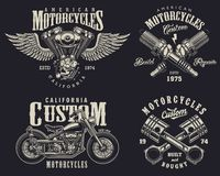 Uppsättning av beställnings- motorcykelemblem Arkivfoto