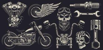 Uppsättning av beställnings- motorcykelemblem Arkivbilder