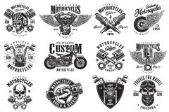 Uppsättning av beställnings- motorcykelemblem Royaltyfria Bilder