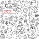 Uppsättning av 58 beståndsdelar av designen Den älskvärda hand-drog `en s för nytt år stock illustrationer