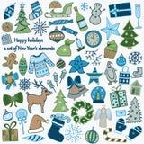 Uppsättning av 58 beståndsdelar av designen Den älskvärda hand-drog `en s I för nytt år royaltyfri illustrationer