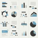 Uppsättning av beståndsdelar för affärslägenhetdesign, grafer, diagram, flödesdiagram Arkivfoto