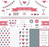 Uppsättning av beståndsdelar för att gifta sig design. spara datumet. Royaltyfri Foto