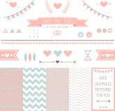 Uppsättning av beståndsdelar för att gifta sig design. spara datumet. Arkivfoton