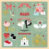 Uppsättning av beståndsdelar för design för bröllopinbjudan retro, symboler royaltyfri illustrationer