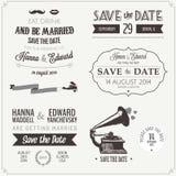 Uppsättning av beståndsdelar för design för bröllopinbjudan typografiska Arkivbild