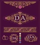 Uppsättning av beståndsdelar för design för bröllopinbjudantappning dekorativa Royaltyfria Foton