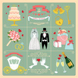 Uppsättning av beståndsdelar för design för bröllopinbjudantappning, symboler Royaltyfria Bilder