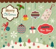 Uppsättning av beståndsdelar för jul och för nytt år stock illustrationer