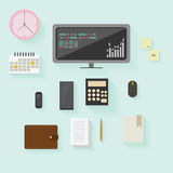 Uppsättning av beståndsdelar för kontors- och affärsmaterielfinans i plan design Arkivbilder