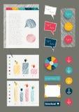 Uppsättning av beståndsdelar för orientering för arbetskontorsrengöringsduk. stock illustrationer