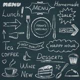 Uppsättning av beståndsdelar för restaurangmenydesign Arkivbilder