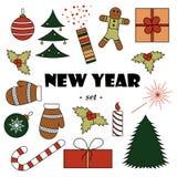 Uppsättning av beståndsdelar för ` s för nytt år för färg royaltyfri illustrationer