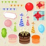 Uppsättning av beståndsdelar för vektorfödelsedagparti Arkivbilder