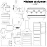 Uppsättning av 14 beståndsdelar av kökutrustningen för design Svart-en stock illustrationer