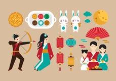 Uppsättning av beståndsdelar som är hängivna till den kinesiska folk festivalen royaltyfria foton