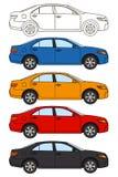 Uppsättning av bilar, vektorlägenhetstil Royaltyfri Illustrationer