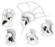 Uppsättning av bilder av gammalgrekiskakrigarehuvud Stock Illustrationer