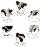 Uppsättning av bilder av gammalgrekiskakvinnahuvud Arkivbild