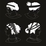 Uppsättning av bilder av gammalgrekiskakvinnahuvud, negation Stock Illustrationer
