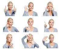 Uppsättning av bilder av kvinnan med olika gester och sinnesrörelser Royaltyfria Foton