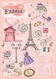 Uppsättning av bilder av olika dragningar, Paris, Frankrike stock illustrationer