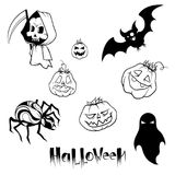 Uppsättning av bilder för halloween vektor illustrationer