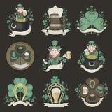 Uppsättning av bilder för Sts Patrick dag Royaltyfria Bilder