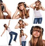 Uppsättning av bilder som ler den tonåriga flickan som lyssnar till musik som isoleras på vit Royaltyfria Foton