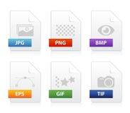 Uppsättning av bildfiltypsymboler Arkivfoton