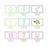Uppsättning av bildskärmar med symboler Arkivbilder
