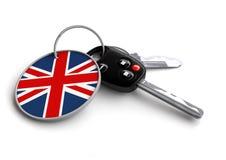Uppsättning av biltangenter med keyring- och landsflaggan Royaltyfri Illustrationer