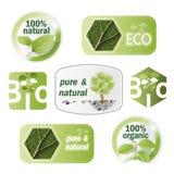 Uppsättning av bio, eco som är naturlig vektor illustrationer