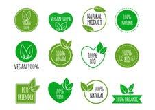 Uppsättning av bio sunda matemblem Strikt vegetarian organiska logoer också vektor för coreldrawillustration Royaltyfri Foto