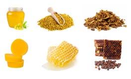 Uppsättning av biodlingprodukter på en vit bakgrund Honung pollen, propolis, bibröd, bivax sunda matar Arkivfoton