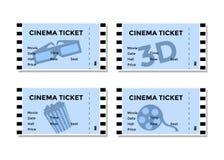 Uppsättning av blåa biobiljetter med bilden av 3D-glasses, popcorn och filmer Royaltyfri Fotografi