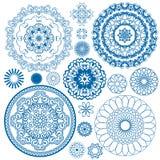 Uppsättning av blåa blom- cirkelmodeller Royaltyfri Fotografi