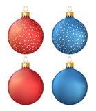 Uppsättning av blåa fyra och röda julbollar - vektorillustration Royaltyfri Fotografi