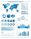 Uppsättning av blåa infographic beståndsdelar, demografiskt och geografiskt Royaltyfri Bild