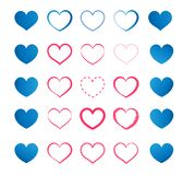 Uppsättning av blåa och röda hjärtor Royaltyfri Bild