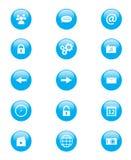 Uppsättning av blåa och vita runda knappar för mobiltelefonapplikationer eller rengöringsduk Royaltyfri Fotografi