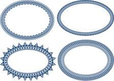 Uppsättning av blåa ovala ramar Royaltyfri Bild