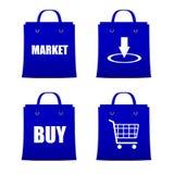 Uppsättning av blåa påsar för att shoppa direktanslutet med rabatt Arkivbilder