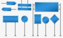 Uppsättning av blåa vägmärken stock illustrationer